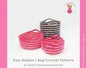 ENGLISH Instructions - Instant Download PDF Crochet Pattern - Easy Baskets/ Bag pattern by Sayjai