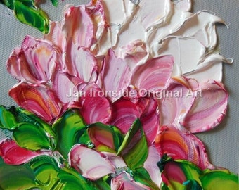 Palette Knife Oil  Painting  Peony