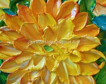 FAll decor, Yellow mum, Original Art, Painting, Oil Painting yellow Dahlia Impasto  Art Impressionist