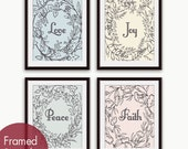 Love, Joy, Peace and Faith Floral Wreath (Series B) Set of 4- Art Poster Prints (Featured in Pastels and Gravel)