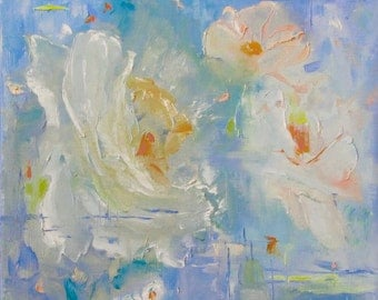 "Ready to Hang, Wall Art, Flower Painting, Flower Art, Botanical Art, Garden Art, ORIGINAL OIL Painting ""Spring Blossoms"" by AndolsekArt"