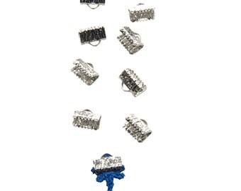 50pcs.  10mm  (3/8 inch) Platinum Silver Ribbon Clamp End Crimps - Artisan Series