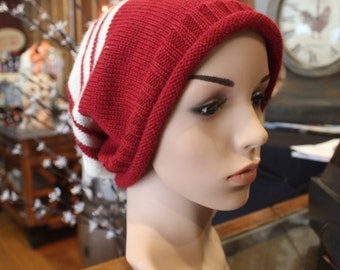 Alpaca Slouch Cap - Beautiful in Red and Ivory
