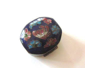 Vintage Enameled Pill Box Small Floral Container