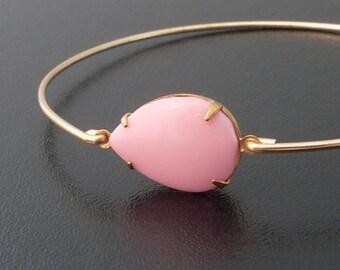 Pink Bracelet, Pink Jewelry, Pink Bangle Bracelet, Pink and Gold Bracelet, Pink Coral Jewelry, Pink Jewlery, Pink and Gold Jewelry