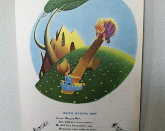 """vintage book page print, """"seesaw, margery daw"""""""
