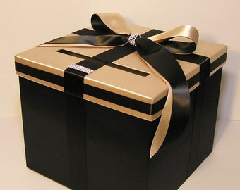 Wedding  Card Box Black and Champagne Gift Card Box Money Box  Holder-Customize your color