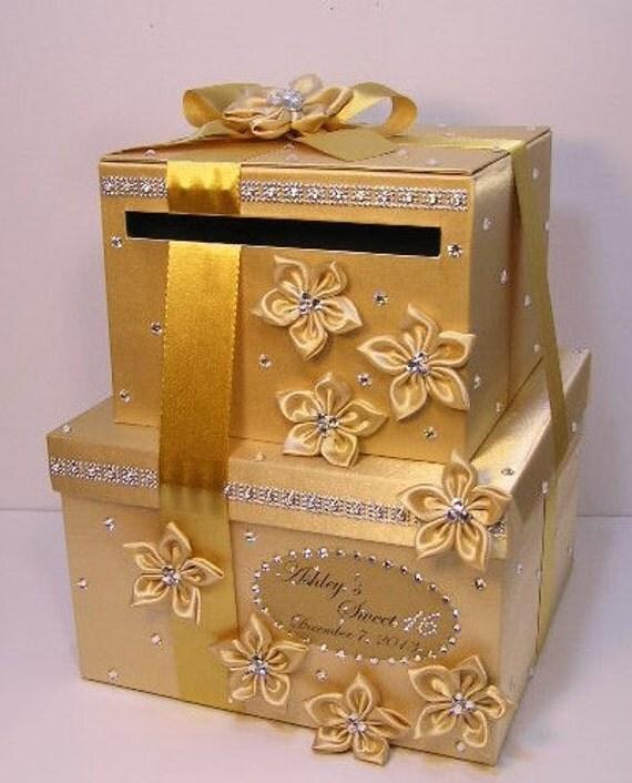 Gold Wedding Gift Card Holder : Wedding Card Box/Sweet 16 Gift Card Box 2 tier Gold Money Card Box ...