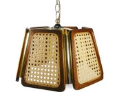Hanging Light Wood Woven Cane Gold-Tone Metal 1970's Vintage Lighting Gold Chain