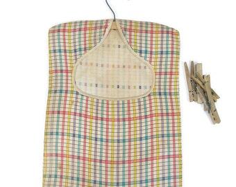 Vintage Clothes Pin Bag Clothes Line Bag Plaid Laundry Day Bag