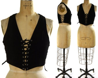 Black Suede Lace Up Motorcycle Vest small