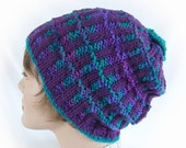 Woman's Knit Hat Purple Plum Teal Magenta Striped Winter Hat Girl's Ribbed Hat Women's Plaid Slouchy Winter Hat Purple Hat Women's Knit Hat
