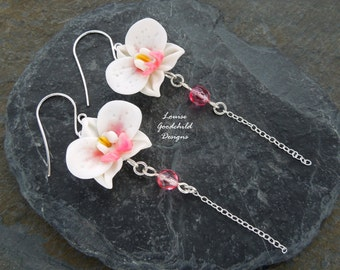 Orchid Drop earrings, white orchid earrings, pink and white orchids, flower earrings, sterling silver, orchid jewelry