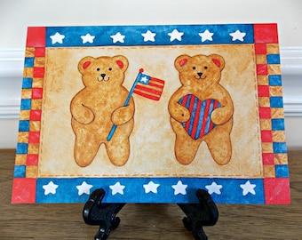 Patriotic Card, Greeting Card, Teddy Bear, Current, Vintage, Folk Art, Craft Supplies, Pamela Berlute Fouts, Patriotic Folk Art, Blank Card