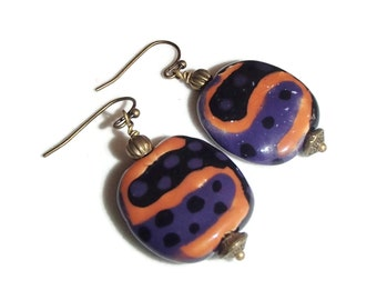 Kazuri Earrings. Ethnic. Kenya. Bright Earrings. Colorful