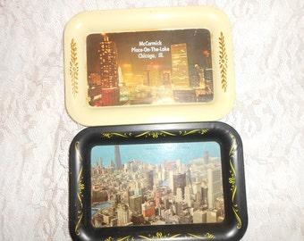 Metal Snack Trays Chicago Souvenir  set of 2