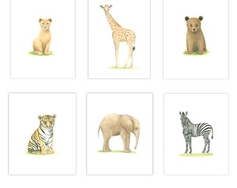 NURSERY Art  6 Print Set  Animal Prints baby Boy Nursery Safari Nursery Prints  Baby Elephant, Giraffe Tiger Zebra penguin bear