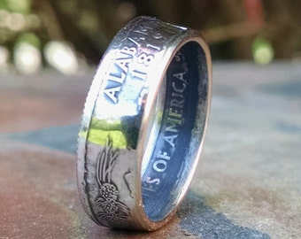 Alabama Coin Ring - Quarter Ring 2003 Quarter Dollar Coin Ring - Size: 6 1/2