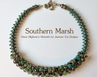 Southern Marsh Fully Beaded Kumihimo Necklace, 20 Inch Necklace, Boro Teardrop Necklace