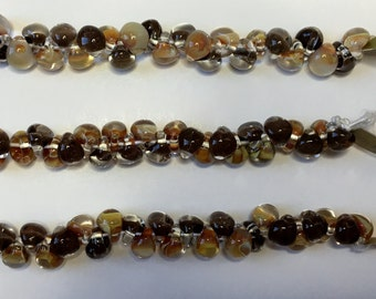 Chocolate Caramel Mix Unicorne Boro Teardrops, 25 Beads per Strand, Dark Brown and Beige Mix Lampwork Beads
