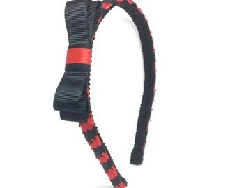 Red and Black Bow Headband - little girl headband, big girl headband - Ribbon Covered Headband with Matching Bow - Holiday Bow Headband