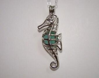 Seahorse Locket - Seahorse Pendant Necklace - Aqua Sea Glass - Sterling Silver Chain