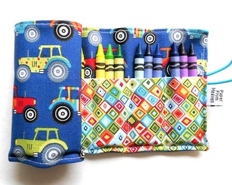 Crayon Roll - Jolly Farm -24 crayons, tractor crayon holder, kids coloring, farm party favor