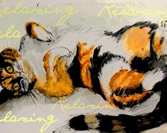 Tabby Cat Art. Relaxing cat . Unique original art