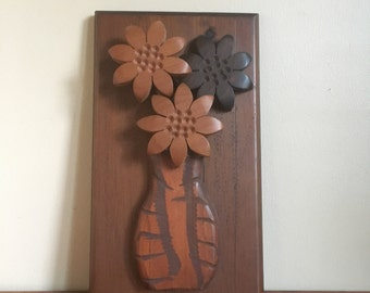Vintage 1970s Wooden Floral Wall Hanging