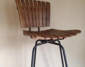 Mid Century Umanoff Style Wooden Slat Stool.