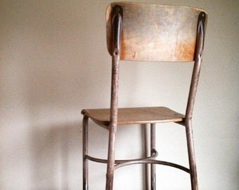 SALE: Presidents Day Hol Industrial Chic.  Metal and Wood High School Chair.