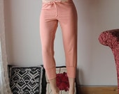 capri lounge pants with a drawstring waist and cuffs in cotton french terry - WAFFY loungerie and loungewear range - made to order