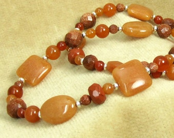 Orange Jade and Carnelian Gemstone Necklace Style 13