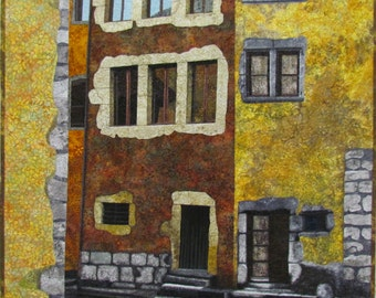 Old Town Original Fiber Art by Lenore Crawford