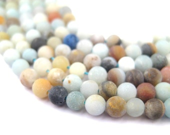 100 Spherical Amazonite Stone Beads - 4mm Amazonite Beads - Natural Stone Beads - Matte Stone Beads - 4mm Spacer Beads (STN-RND-MIX-320)