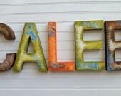 Kids Name Letters - Nursery Letters - Boy Name Letters - Girl Name Letters - Rustic Block Font - Vintage Kids Room