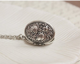 VACATION SALE Silver Floral Locket Necklace