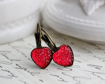 Red Heart Earrings. Silver or Antique Brass. Valentines Day Jewelry