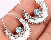 Slavic Style Blue Topaz Earrings, 925 Silver, Kievan Russ Hoops