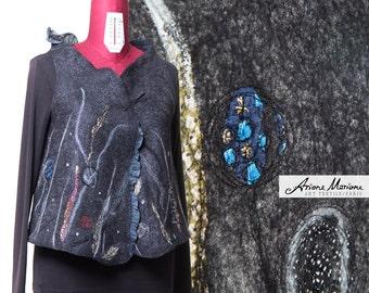 Outstanding Women Wear Waistcoat Art Vest Merino Wool Silk - Gray Blue Black Abstract Flower Design Made in Paris - Piece Unique reversible