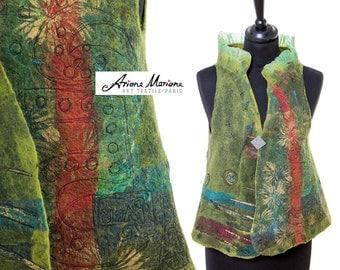 Wearable Art Women Vest - Outstanding Felted Merino Wool Designer Garment -  Reversible Piece Unique  - Convertible Bolero  Green Blue
