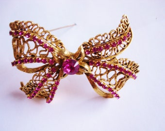 Signed Florenza Bow Brooch
