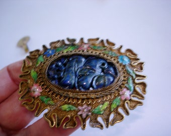 Lapis Carved Stone Flowers Gold Tone  Brooch Signed China