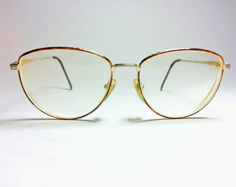 Vintage Unisex Pappagallo Wire Rimmed with Tortoise Eyeglass Frames Rounded Nerd Hipster 1980s Preppy