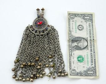 Large Vintage Kuchi Tribal Tassel Pendant With Gems and Bells Waziri Afghani Statement Pendant Bohemian Gypsy
