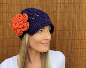 Denver Broncos Navy Blue Cap w/ Visor & Orange Detachable Flower Colorado Brim Crochet Football Accessory Hat Knit Accessories Beanie