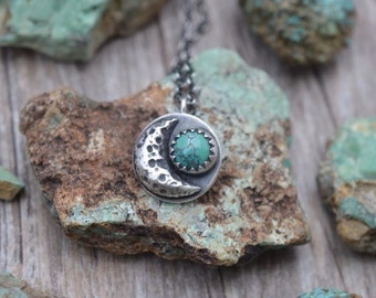 Handmade Sterling Silver and Carico Lake Turquoise Crescent Moon Necklace