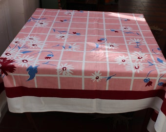Tablecloth Pink Mauve Flowers Large 1950s Mid Century VINTAGE by Plantdreaming