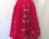 1950s/ 60s Vintage Mohair Wool Skirt / Shocking Pink Floral Embroidered Skirt