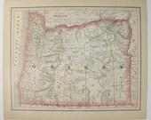 Vintage Oregon Map Washington Territory Map 1886 Antique Map Oregon, Washington Map, OR Map WA, Pacific Northwest, Housewarming Gift